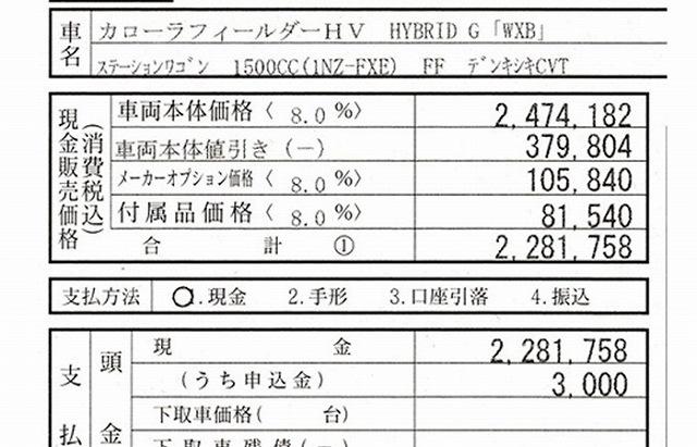 カローラフィールダー ハイブリッド wxb 値引き可能価格