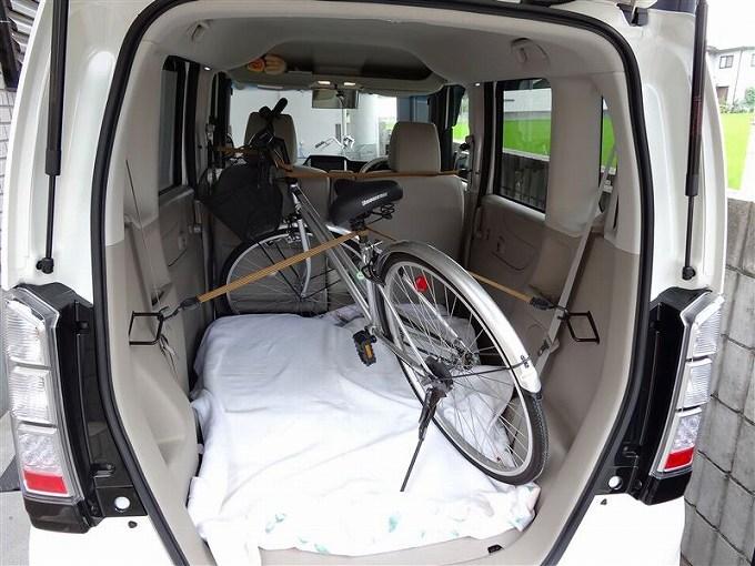n box 荷室 改造 自転車 バンド固定
