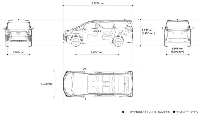 ヴェルファイア 高さ 駐車場 寸法図